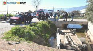 Kumluca'da otomobil sulama kanalına düştü: 2 yaralı