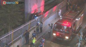 Hafif ticari araç viyadükten tren yoluna uçtu: 1 ölü, 5 yaralı