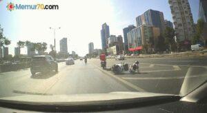 (ÖZEL) E-5'te motosikletin halatla çekildiği tehlikeli yolculuk kamerada